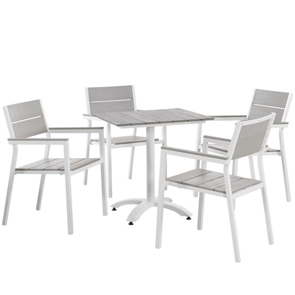 Modway Furniture Maine White Light Gray 5pc Outdoor Patio Dining Set EEI-1761-WHI-LGR-SET