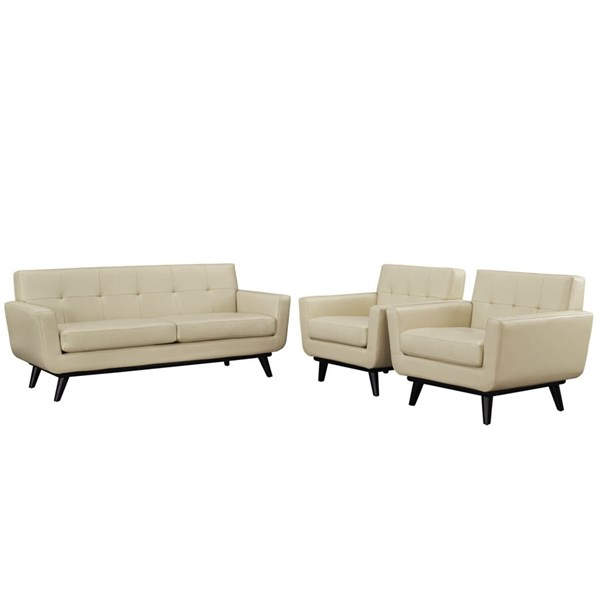 Engage Beige Leather Wood Tufted Back 3pc Living Room Set EEI-1762-BEI-SET