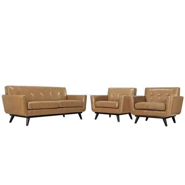 Engage Tan Leather Wood Tufted Back 3pc Living Room Set EEI-1762-TAN-SET