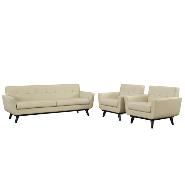 Engage Beige Leather Wood 3pc Living Room Set w/Tufted Back EEI-1763-BEI-SET