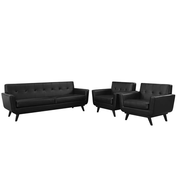 Engage Black Leather Wood 3pc Living Room Set w/Tufted Back EEI-1763-BLK-SET