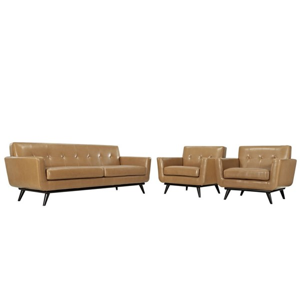 Engage Tan Leather Wood 3pc Living Room Set w/Tufted Back EEI-1763-TAN-SET