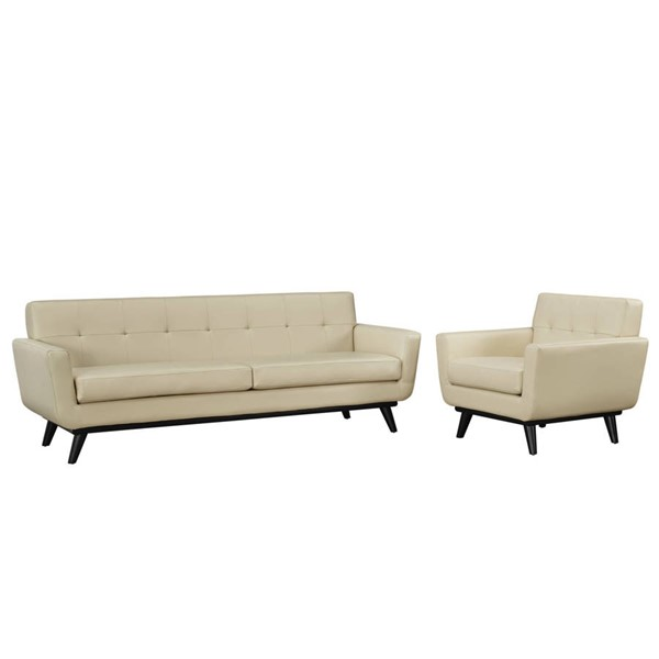 Modway Furniture Engage Beige Leather Tufted Back 2pc Living Room Set EEI-1766-BEI-SET