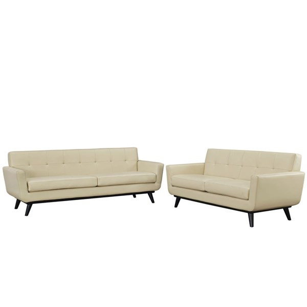 Engage Beige Leather Wood 2pc Living Room Set EEI-1767-BEI-SET