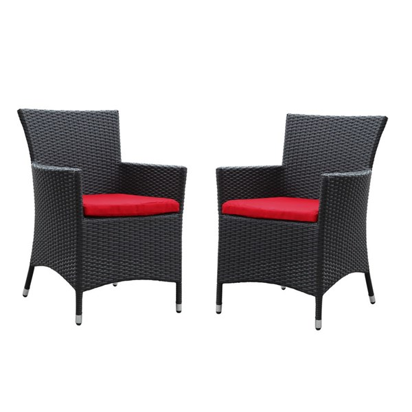 2 Deco Espresso Red Synthetic Rattan Outdoor Patio Dining Chairs EEI-1768-EXP-RED-SET