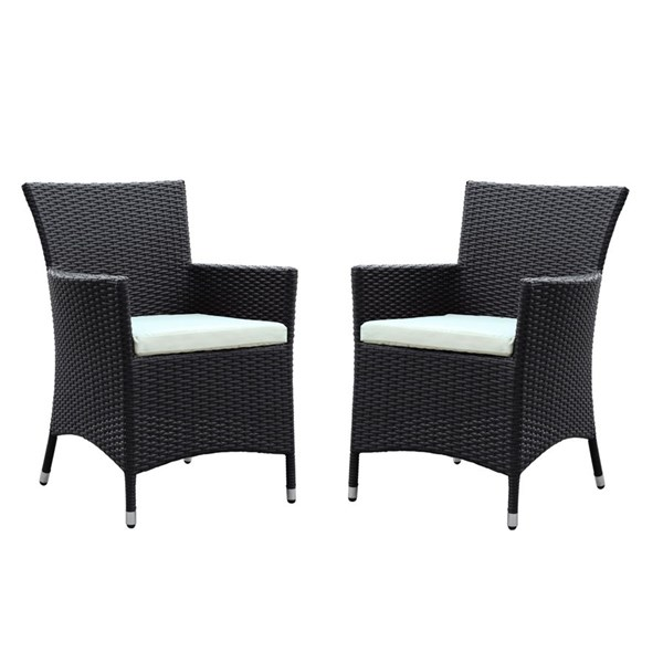 2 Deco Espresso White Synthetic Rattan Outdoor Patio Dining Chairs EEI-1768-EXP-WHI-SET