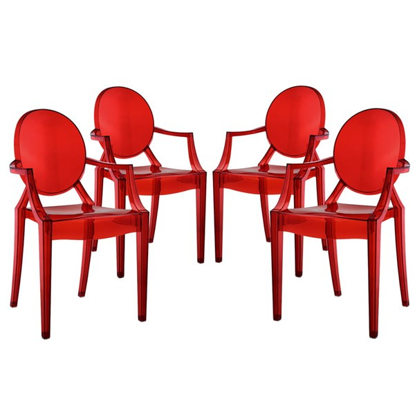 4 Casper Contemporary Red Polycarbonate PVC Dining Armchairs EEI-1769-RED
