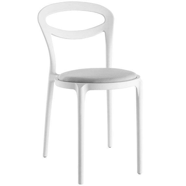 Assist Modern White Gray Fabric PP Dining Side Chair EEI-1772-WHI-GRY