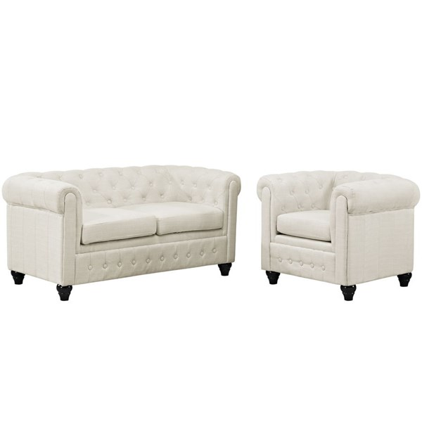 Earl Elegant Beige Fabric Solid Wood Tufted Back 2pc Living Room Set EEI-1777-BEI-SET