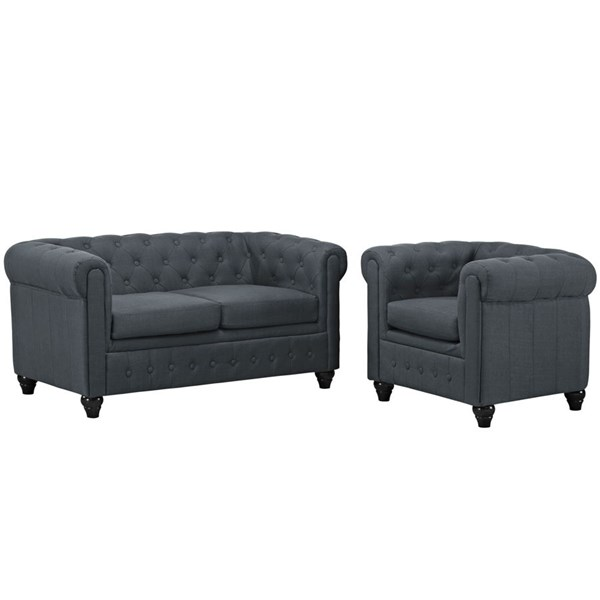 Earl Elegant Gray Fabric Solid Wood Tufted Back 2pc Living Room Set EEI-1777-GRY-SET