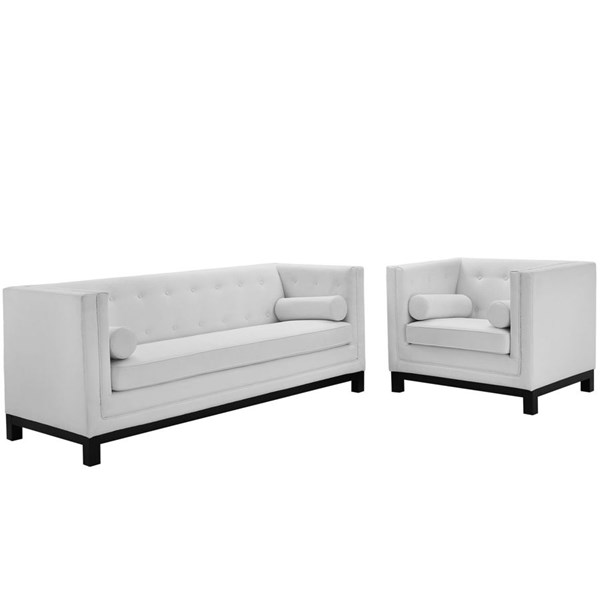 Imperial Modern White Bonded Leather Solid Wood 2pc Living Room Set EEI-1781-WHI-SET
