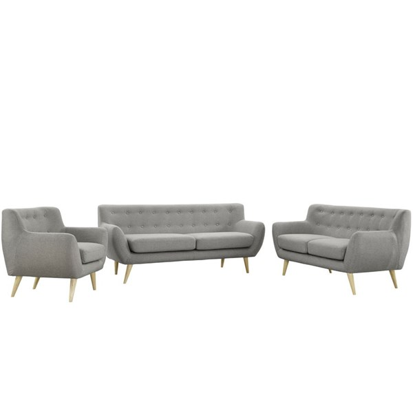 Remark Modern Light Gray Fabric Solid Wood 3pc Living Room Set EEI-1782-LGR-SET