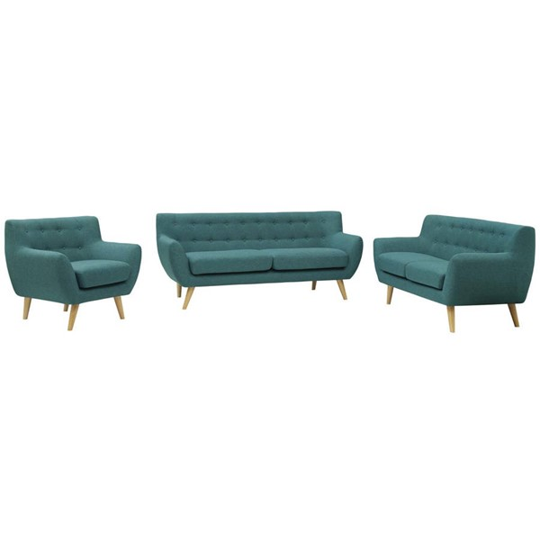 Modway Furniture Remark Teal Fabric 3pc Living Room Set EEI-1782-TEA-SET