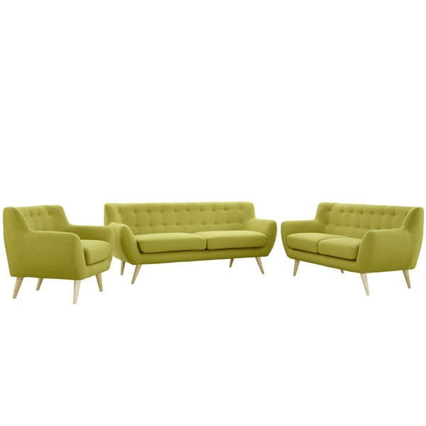 Modway Furniture Remark Wheatgrass Fabric 3pc Living Room Set EEI-1782-WHE-SET