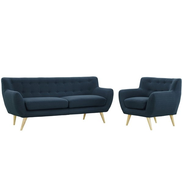 Remark Modern Azure Fabric Solid Wood Tufted Back 2pc Living Room Set EEI-1784-AZU-SET