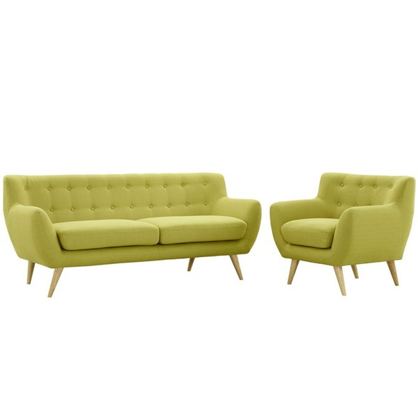 Remark Wheatgrass Fabric Solid Wood Tufted Back 2pc Living Room Set EEI-1784-WHE-SET