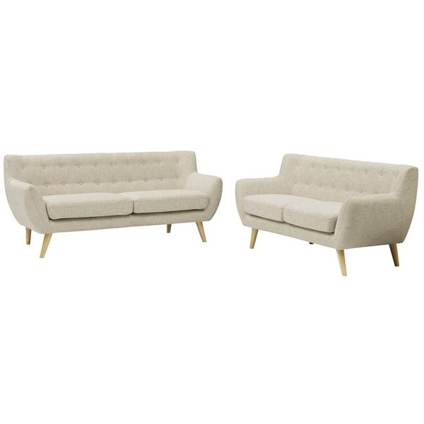 Modway Furniture Remark Beige Fabric 2pc Living Room Set EEI-1785-BEI-SET