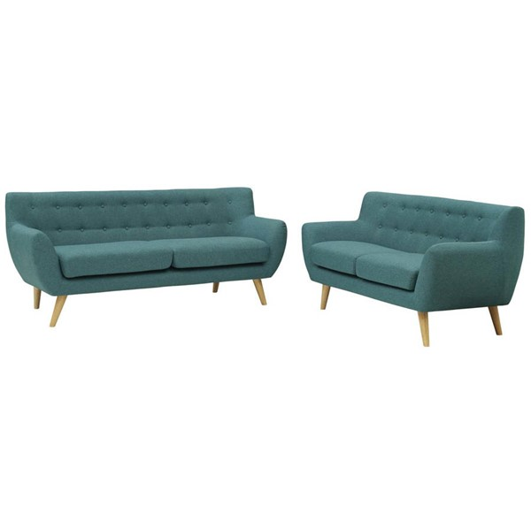 Modway Furniture Remark Teal Fabric 2pc Living Room Set EEI-1785-TEA-SET
