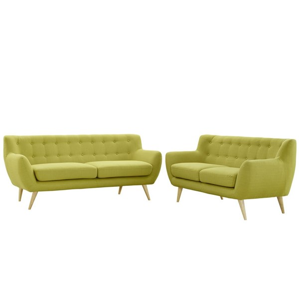 Modway Furniture Remark Wheatgrass Tufted Back 2pc Living Room Set EEI-1785-WHE-SET
