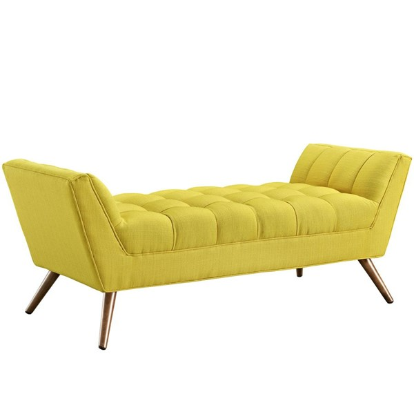 Response Sunny Fabric Wood Medium Tufted Seat Bench EEI-1789-SUN