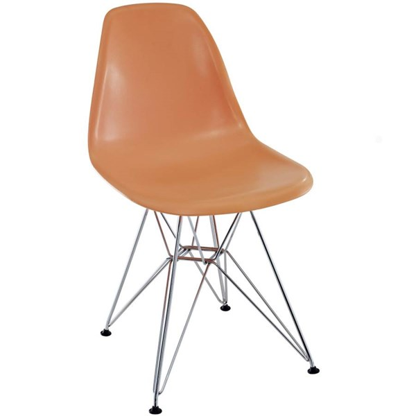 Paris Orange ABS Plastic Chrome Dining Side Chair EEI-179-ORA