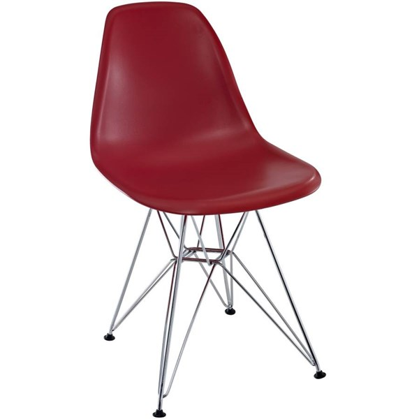 Paris Red ABS Plastic Chrome Dining Side Chair EEI-179-RED