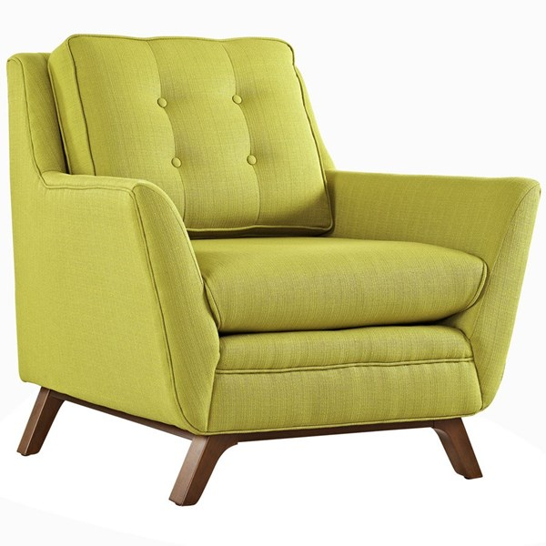 Beguile Wheatgrass Fabric Wood Tufted Back Armchair EEI-1798-WHE