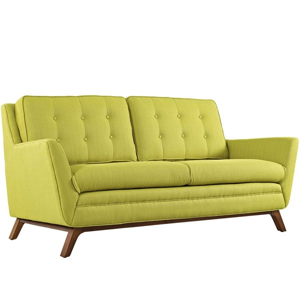 Beguile Wheatgrass Fabric Wood Tufted Back Loveseat EEI-1799-WHE