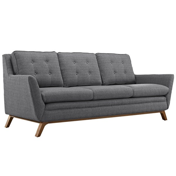 Beguile Gray Fabric Wood Tufted Back Sofa EEI-1800-DOR