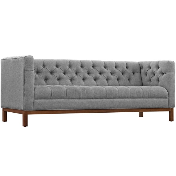 Panache Elegant Expectation Gray Fabric Solid Wood Sofa EEI-1802-GRY