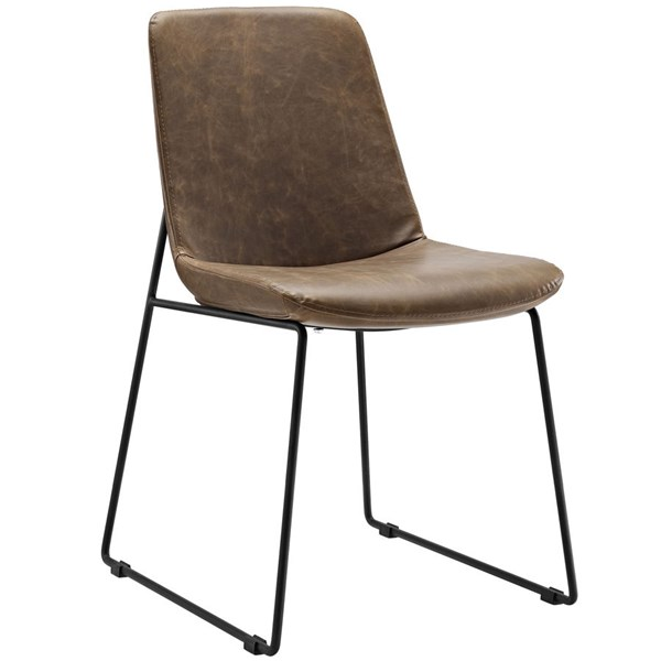 Invite Brown Faux Leather Steel Dining Side Chairs EEI-1805-DR-CH-VAR