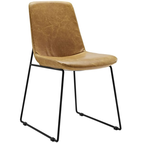 Invite Tan Faux Leather Steel Dining Side Chair EEI-1805-TAN