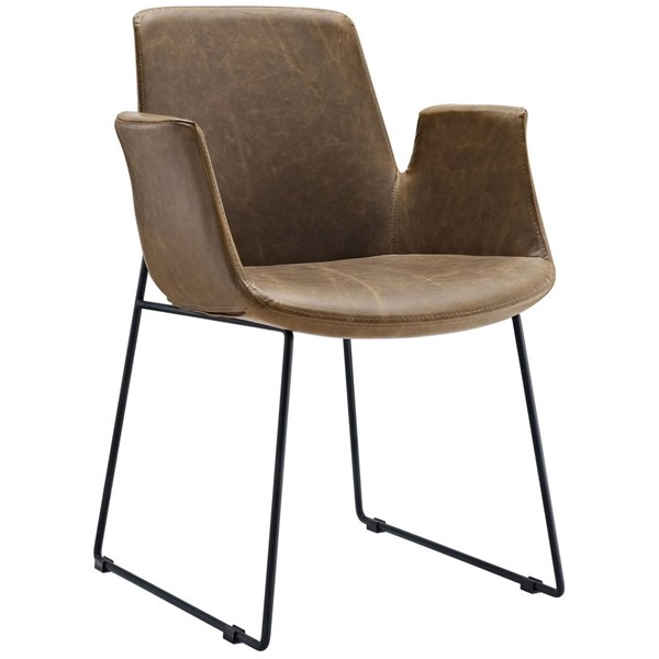 Aloft Transitional Brown Faux Leather Steel Dining Armchairs EEI-1806-DR-CH-VAR