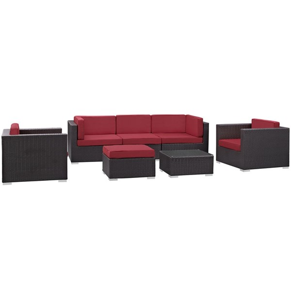Gather Red Fabric PE Rattan Glass 7pc Outdoor Patio Sofa Set EEI-1808-EXP-RED-SET