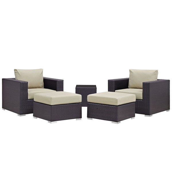 Modway Furniture Convene Espresso Beige Fabric 5pc Outdoor Patio Chair and Ottoman EEI-1809-EXP-BEI-SET