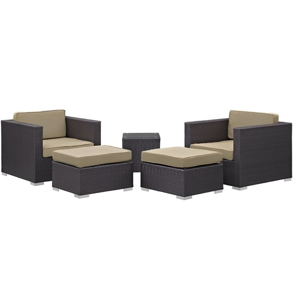 Modway Furniture Convene Espresso Mocha Fabric 5pc Outdoor Patio Chair and Ottoman EEI-1809-EXP-MOC-SET