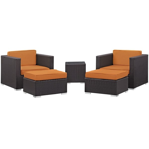 Modway Furniture Convene Espresso Orange Fabric 5pc Outdoor Patio Chair and Ottoman EEI-1809-EXP-ORA-SET