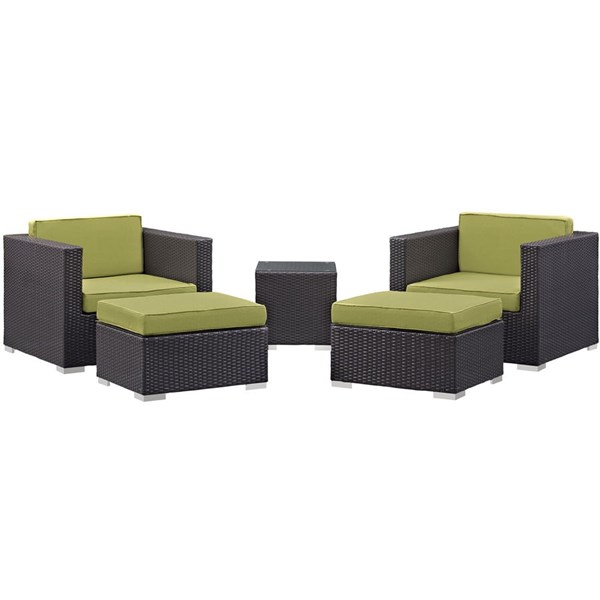 Modway Furniture Convene Espresso Peridot Fabric 5pc Outdoor Patio Chair and Ottoman EEI-1809-EXP-PER-SET