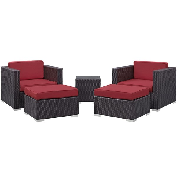 Convene Espresso Red Fabric PE Rattan 5pc Outdoor Chair & Ottoman Set EEI-1809-EXP-RED-SET