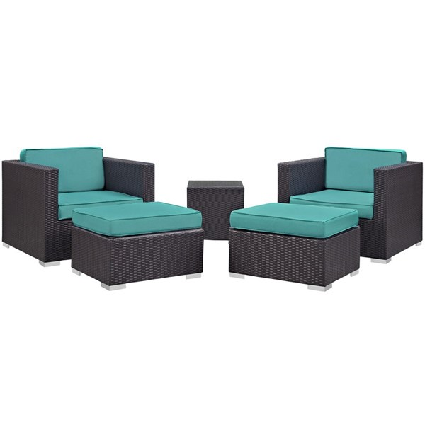 Modway Furniture Convene Espresso Turquoise Fabric 5pc Outdoor Patio Chair and Ottoman EEI-1809-EXP-TRQ-SET