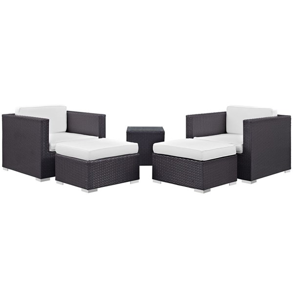 Modway Furniture Convene Espresso White Fabric 5pc Outdoor Patio Chair and Ottoman EEI-1809-EXP-WHI-SET