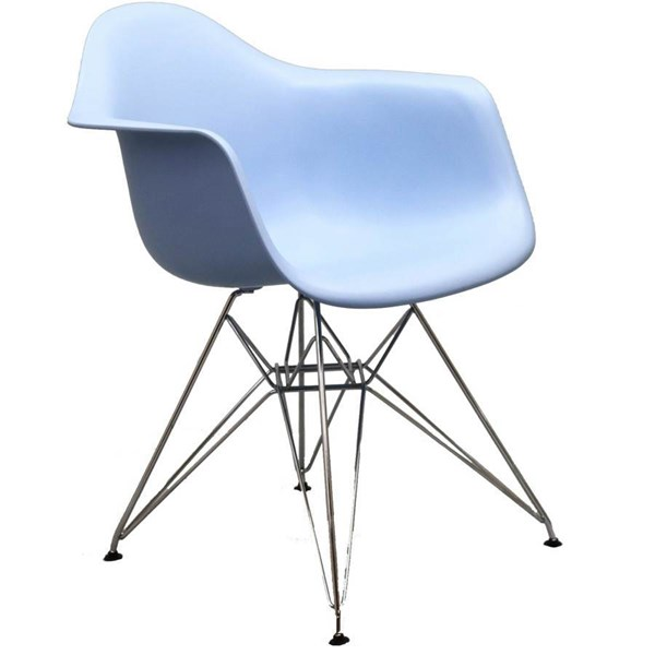 Paris Blue PP Plastic Stainless Steel Dining Armchair EEI-181-BLU