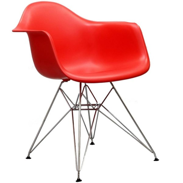 Paris Red PP Plastic Stainless Steel Dining Armchair EEI-181-RED