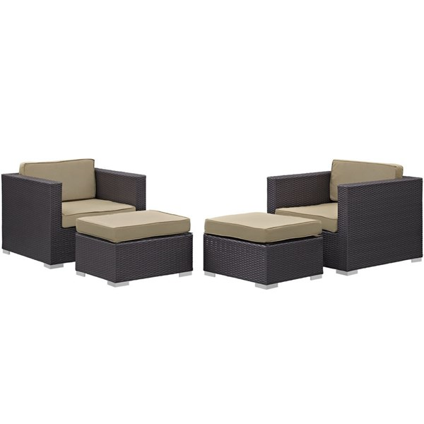 Gather Mocha Fabric PE Rattan 4pc Outdoor Chairs & Ottoman Sets EEI-1810-PO-CHO-VAR