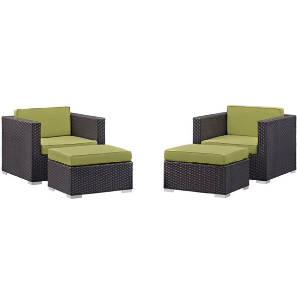 Gather Peridot Fabric PE Rattan 4pc Outdoor Chair & Ottoman Set EEI-1810-EXP-PER-SET