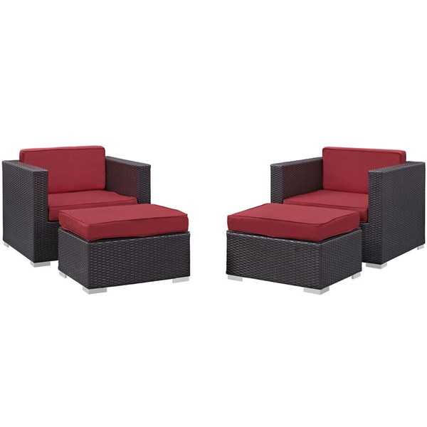 Gather Red Fabric PE Rattan 4pc Outdoor Chair & Ottoman Set EEI-1810-EXP-RED-SET