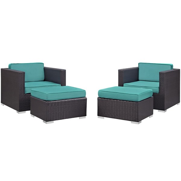 Gather Turquoise Fabric PE Rattan 4pc Outdoor Chair & Ottoman Set EEI-1810-EXP-TRQ-SET