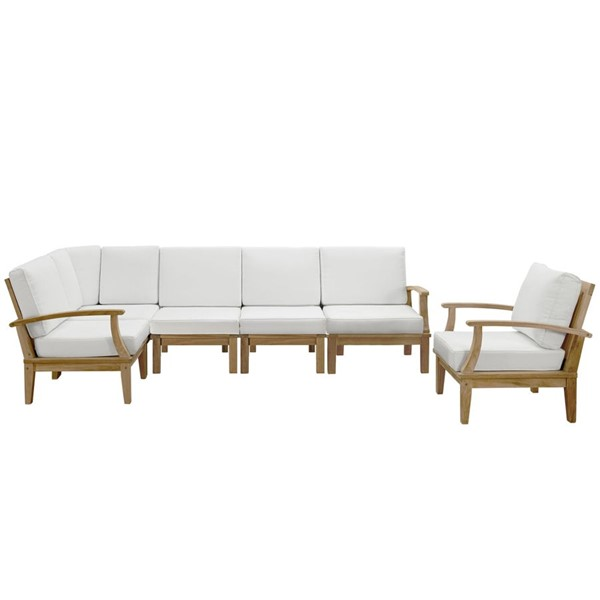 Modway Furniture Marina 6pc Outdoor Teak Sofa Set EEI-1816-NAT-WHI-SET