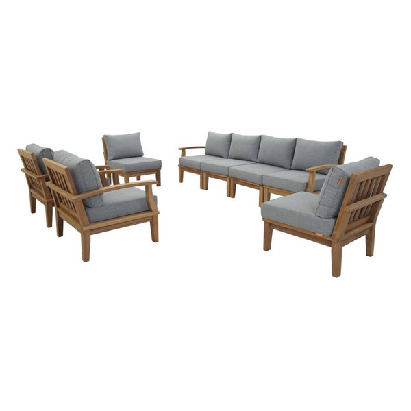 Modway Furniture Marina Natural Gray 8pc Outdoor Patio Teak Sets EEI-1817-NAT-OTS-SET-VAR