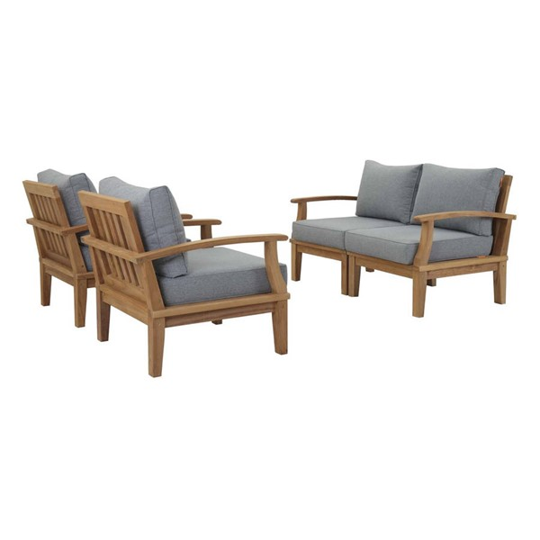 Modway Furniture Marina Natural Gray 4pc Outdoor Patio Teak Sets EEI-1818-NAT-OTS-SET-VAR